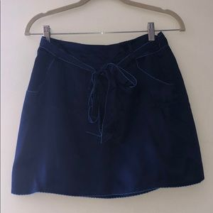 Navy silk skirt